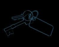 House keys (3D xray blue transparent). House keys (3D xray blue transparent isolated on black background Royalty Free Stock Image