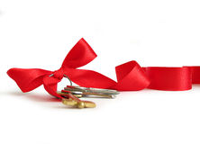 House keys decorated by ribbon Stock Photo