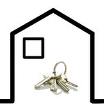 House keys in a drawn house Stock Photo