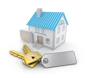 House and the keys with an empty thumb Stock Photography
