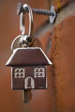 House keys. Hanging by a brick wall Stock Images