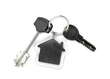 House keys and Keychain on white  background Royalty Free Stock Photo