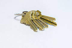 House keys on keyring. Six house keys on keyring Stock Photos