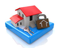 House and keys with lock royalty free stock photo