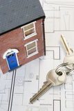 House With Keys And Plans Stock Photos