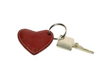 House keys with a red heart key ring Stock Photos