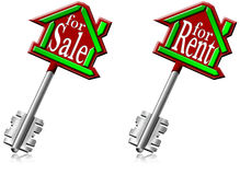 House keys for sale and for rent Stock Photography