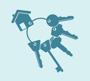 House keys. Set of blue abstract house keys Stock Photo