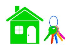 House and keys on white background Stock Images