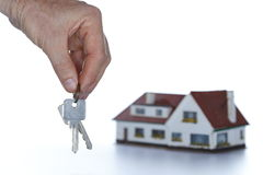 House and keys on white background Stock Photo