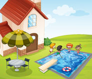 A house and kids Royalty Free Stock Image