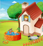 A house and kids Stock Photography