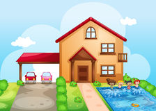A house and kids Royalty Free Stock Photo