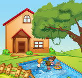 A house and kids royalty free stock photos