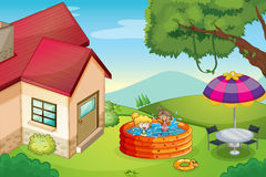 A house and kids Royalty Free Stock Images