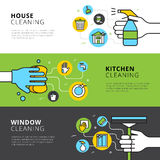House Kitchen And Window Cleaning Banners Stock Photography