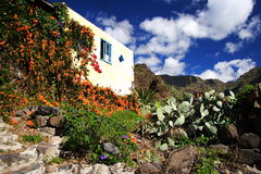 House on La Gomera island. Scenic view of traditional house with flowers in foreground on La Gomera island, Canary Islands, Spain royalty free stock image
