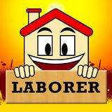 House Laborer Shows Building Worker 3d Illustration. House Laborer Showing Building Worker 3d Illustration Stock Photo