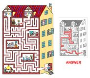 House - labyrinth for kids (easy). Royalty Free Stock Image
