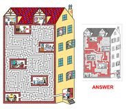 House - labyrinth for kids (hard). Stock Image