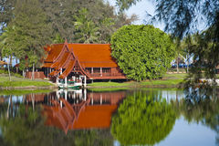 House on lake stock photography