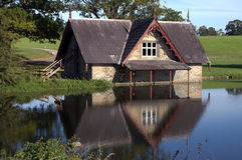 House on a lake Stock Image