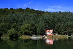 House by the lake. House built on lake shore on forest and blue sky background Royalty Free Stock Image