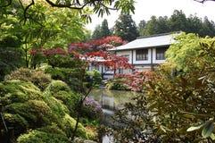 The house at lake. In a Japanese garden stock photos