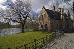 House on the lake in Bruges. Stock Photo