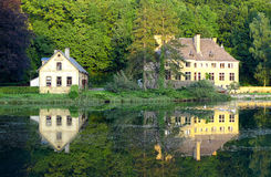 House on the lake. With ducks, idyllic landscape in France Stock Photos