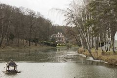 House on the lake. Lake House in the forest, Ukraine Royalty Free Stock Photography