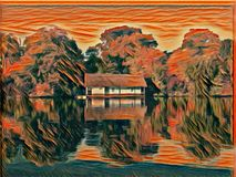 House on the lake - graphic art Stock Image