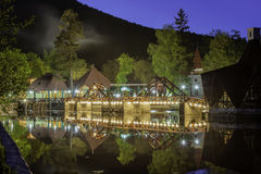 House on lake. House on a lake at night. Long exposure Royalty Free Stock Images