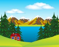 House beside lake Royalty Free Stock Photography