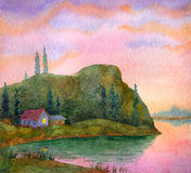 House on the lake. Watercolor landscape. Colorful sunset over a calm lake Royalty Free Stock Photo