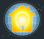 House and lamp with planet Royalty Free Stock Image