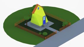 House red roof. House in landscape isometric view Royalty Free Stock Photo