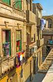 The house in lane. CAIRO, EGYPT - OCTOBER 10, 2014: The  narrow lane with the old houses is branched from Al-Muizz street, on October 10 in Cairo Stock Photos