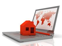 House on laptop. On white background Royalty Free Stock Photography