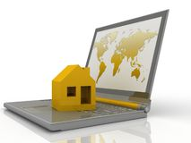 House on laptop Stock Photo