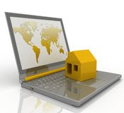 House on laptop. On white background Royalty Free Stock Image