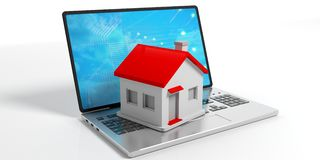 House on a laptop on white background. 3d illustration. Small house on a laptop on white background. 3d illustration Royalty Free Stock Photos
