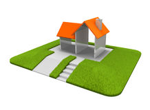 House and lawn stock illustration