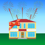 House on the lawn. Tied with a festive ribbon, fireworks in the sky Stock Image