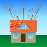 House on the lawn 3. House on the lawn, tied with a festive ribbon, fireworks in the sky Royalty Free Stock Photo