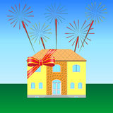 House on the lawn. Tied with a festive ribbon, fireworks in the sky Royalty Free Stock Photos