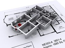 House Layout. Layout and 3D model of a new house on top of house plans