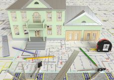 House Layout And Architectural Drawings Royalty Free Stock Photo