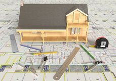 House Layout And Architectural Drawings Royalty Free Stock Photography