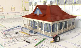 House Layout And Architectural Drawings royalty free illustration